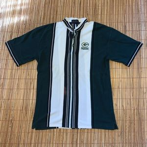 Vintage 90s Green Bay Packers Striped Polo Shirt